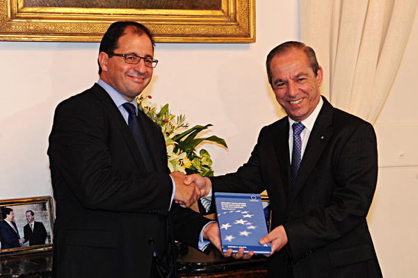 Prof. Stephen Calleya presenting his new book Security Challenges in the Euro-Med to PM of Malta Dr. Lawrence Gonzi